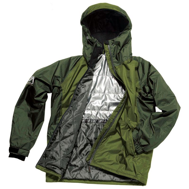 アウトドアレインウェア モデル着用 注目アイテム レインポンチョ マック Makku バウンスヒート AS-3730 防水防寒ジャケットII ご予約品 EL ダークグリーン