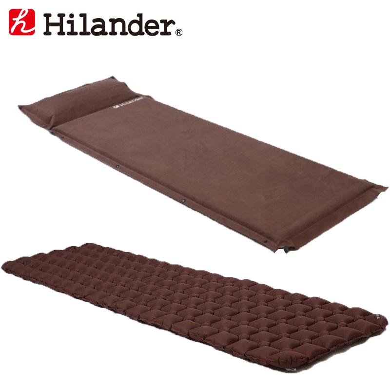 Hilander(ハイランダー) スエードインフレーターマット(枕付きタイプ)5.0cm×コンパクトエアーマット 5.0cm シングル ブラウン