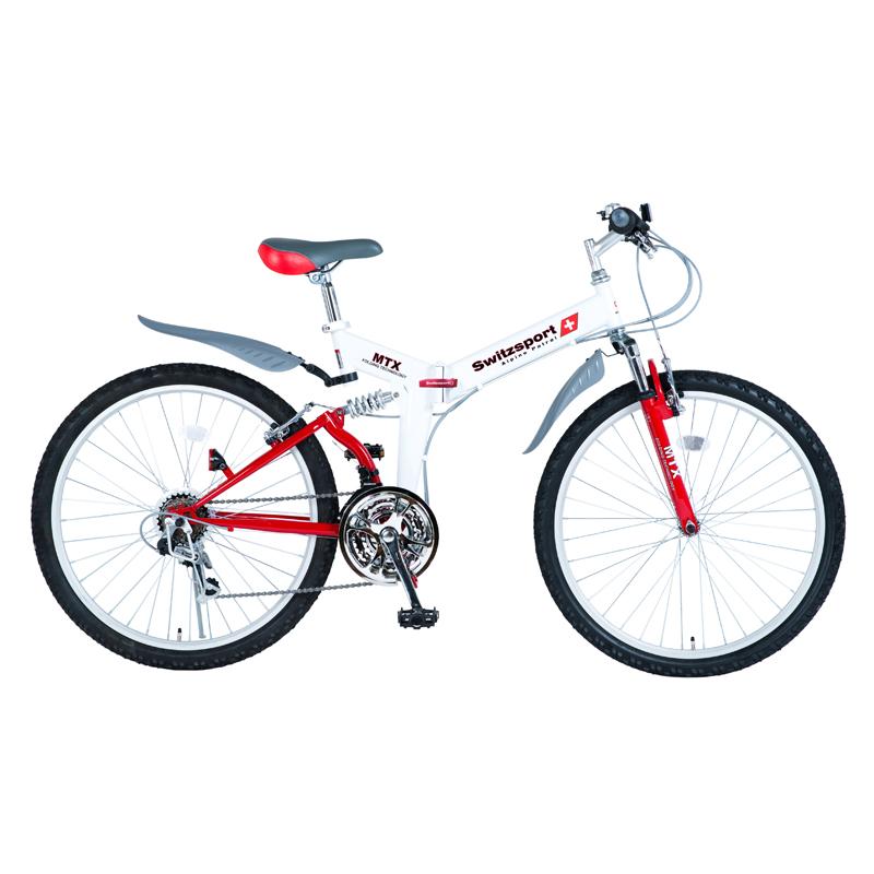 Switzsports(スウィツスポーツ) AIGLE 【エイグル】 フルサスペンション MTB型26インチ折畳自転車 【シマノ18段変速】 ホワイト×レッド MDL31006