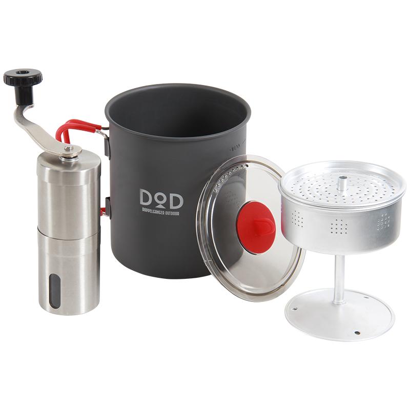 DOD(ディーオーディー) ラーメン、コーヒー、そして俺 クッカー・パーコレーター・ミルセット グレー×レッド RC1-468