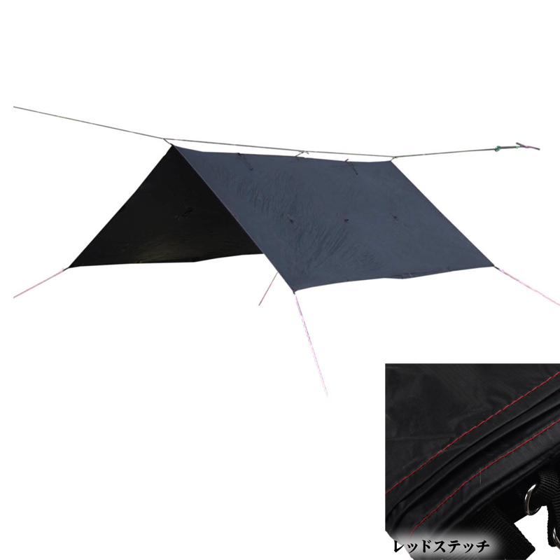 【送料無料】Bush Craft(ブッシュクラフト) ORIGAMI TARP(オリガミタープ) 3×3 レッドステッチ 02-06-tent-0011