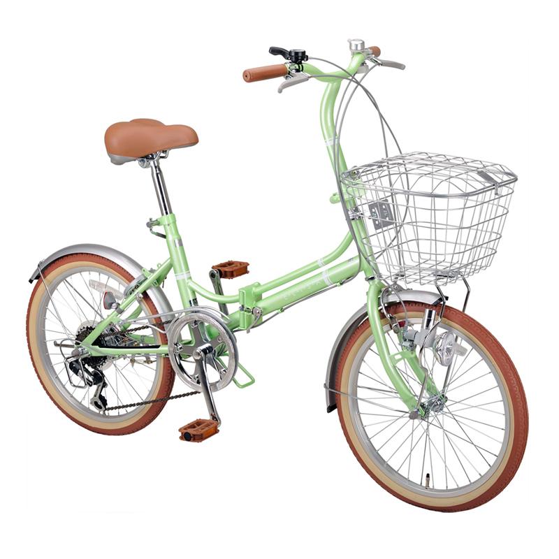 キャプテンスタッグ(CAPTAIN STAG) エリーサ FDB206BAA 折り畳み自転車 20インチ 6段変速 カゴ付 カギ付 20インチ ライトグリーン YG-268