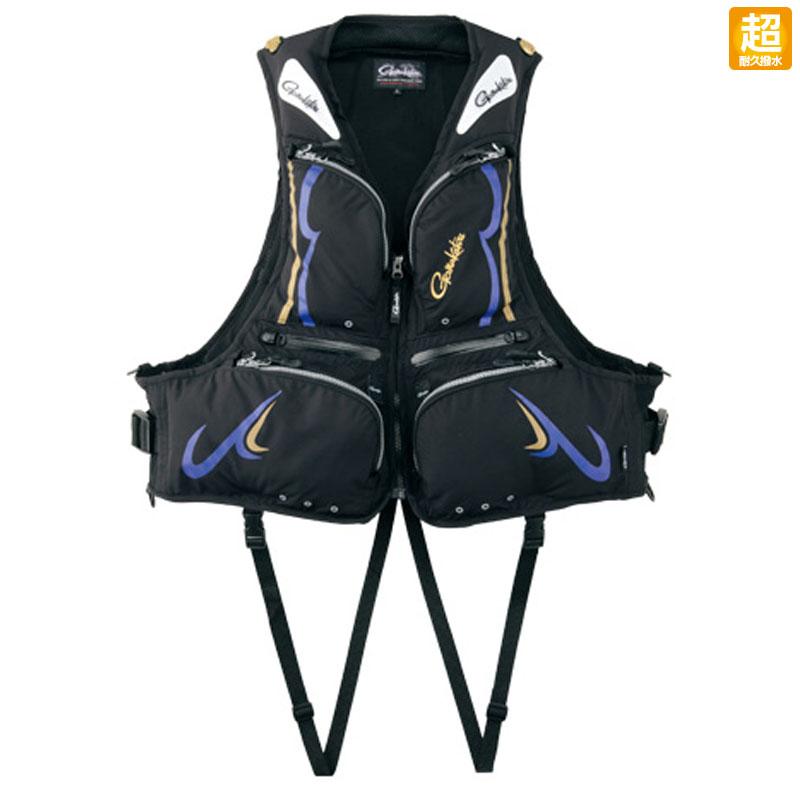 がまかつ(Gamakatsu) フローティングベスト(KABUKI-超耐久撥水仕様) GM-2178 L ブラック×ブルー 52178-23-0