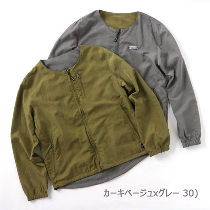 【送料無料】gym master(ジムマスター) リバーシブルノーカラー ジャケット L 30(カーキ×グレー) G602377【SMTB】