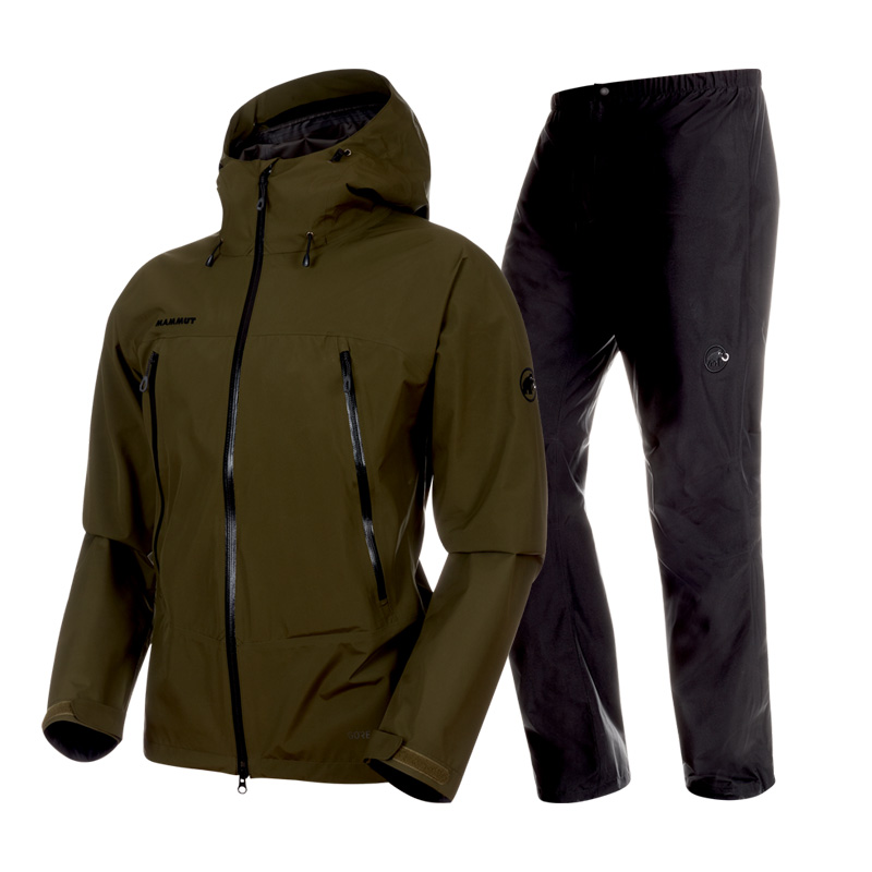 MAMMUT(マムート) CLIMATE Rain Suit AF Men's XL 4027(dark olive×black) 1010-26551