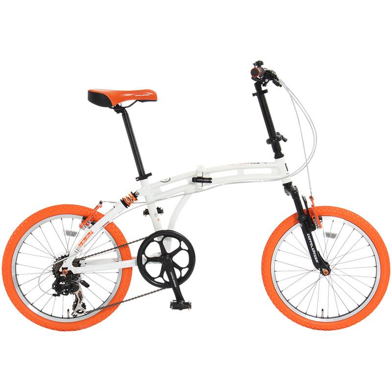 ドッペルギャンガー(DOPPELGANGER) 215 Barbarous(バーバラス) 【20インチ 折りたたみ自転車】 20インチ ホワイト×オレンジ×ブラック 215 【大型商品】