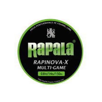 ルアー釣り用PEライン Rapala 授与 ラパラ ラピノヴァ 18%OFF エックス 150m 0.8号 ライムグリーン マルチゲーム 17lb