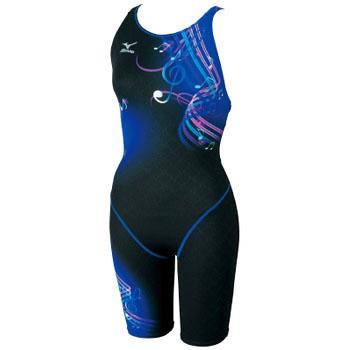ミズノ(MIZUNO) 85EH167 ハーフスーツ クローズ Women's M 92(ブラック×ブルー) 85EH167