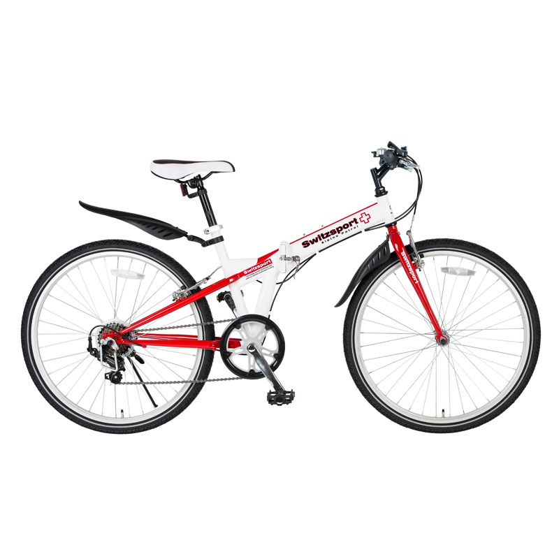 Switzsports(スウィツスポーツ) SIERRE-IIクロスバイクタイプ26インチ折畳自転車【シマノ7段変速】【クレジットカードのみ】 ホワイト×レッド MDL31015 大型便