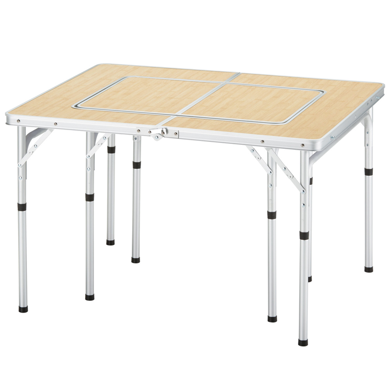 BUNDOK(バンドック) グリルテーブル 98×80cm 分割して使用可能 バーベキュー/レジャーテーブル バンブー柄 BD-221