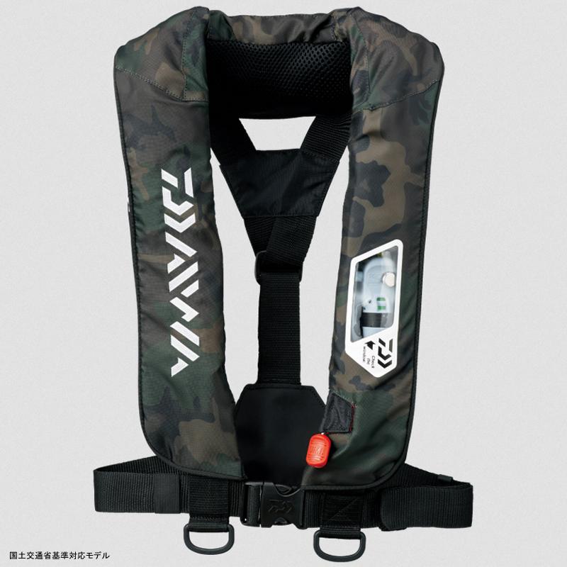 ダイワ(Daiwa) DF-2007 ウォッシャブルライフジャケット(肩掛けタイプ手動・自動膨脹式) フリー グリーンカモ 04595372