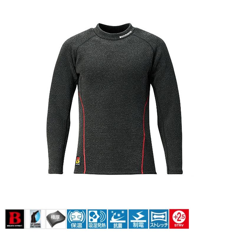 シマノ(SHIMANO) IN-021Q ブレスハイパー+度 ストレッチハイネックアンダーシャツ(極厚タイプ) L ブラック 53475