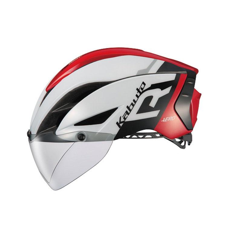 オージーケー カブト(OGK KABUTO) ヘルメット AERO-R1 (エアロ-R1) S/M G-1ホワイトレッド AERO-R1