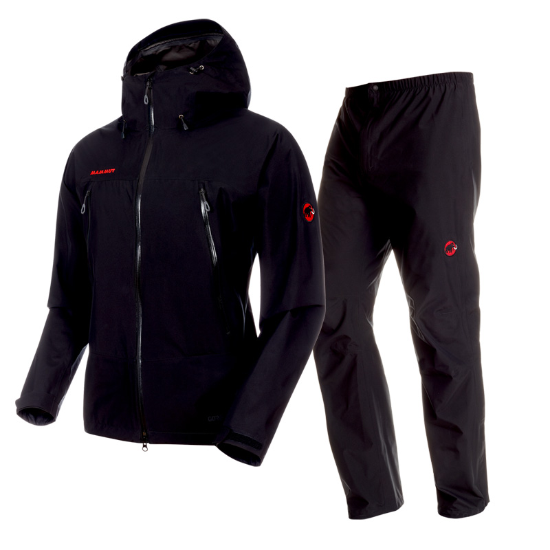 アウトドアレインウェア・レインポンチョ MAMMUT(マムート) CLIMATE Rain Suit AF Men's S 0052(black×black) 1010-26551