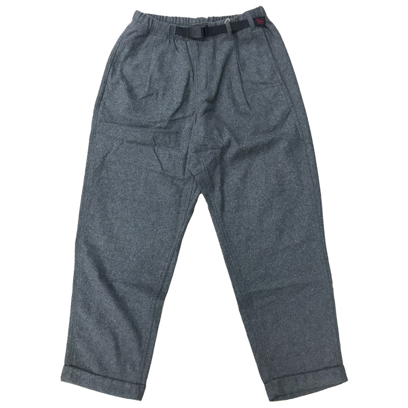 WOOL BLEND TUCK TAPERED PANTS M H.CHARCOAL