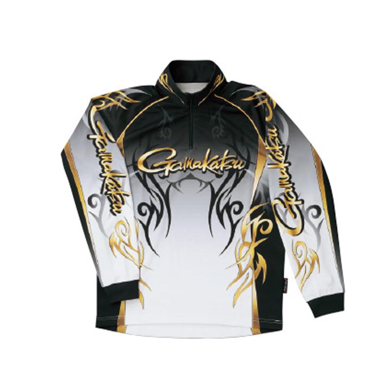 がまかつ(Gamakatsu) 2WAYプリントジップシャツ(長袖) GM-3531 LL ブラック 53531-14-0
