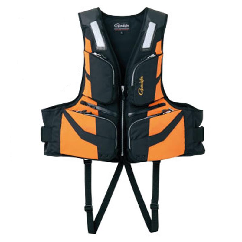 超歓迎された フローティングベスト 激安通販販売 ライフジャケット がまかつ Gamakatsu ブラック×オレンジ GM-2187 52187-43-0 L
