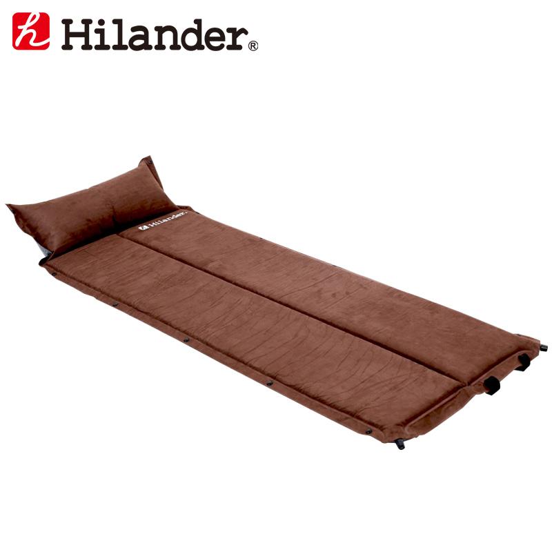 スエードインフレーターマット 2つ折り仕様(枕付きタイプ) 3.2cm シングル ブラウン