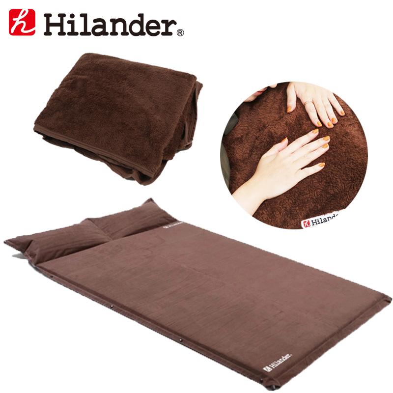 アウトドアマット 即納 (訳ありセール 格安) Hilander ハイランダー スエードインフレーターマット5.0cm+インフレーターマット用ボア敷きパッド ブラウン お得な2点セット UK-3UK-15 ダブル