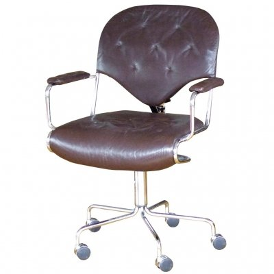 4947849940462 brown leather chrome office chair STG-SID-1512【スパイス社】