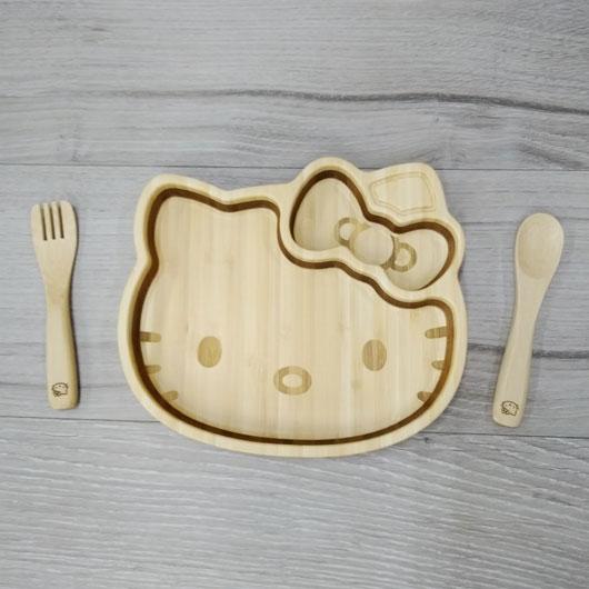 キティフェイス プレートセット KITTY-001 / FUNFAM / 出産祝い 離乳食 ファンファン 食器セット 男の子 女の子 日本製 キティ / 4562364816346