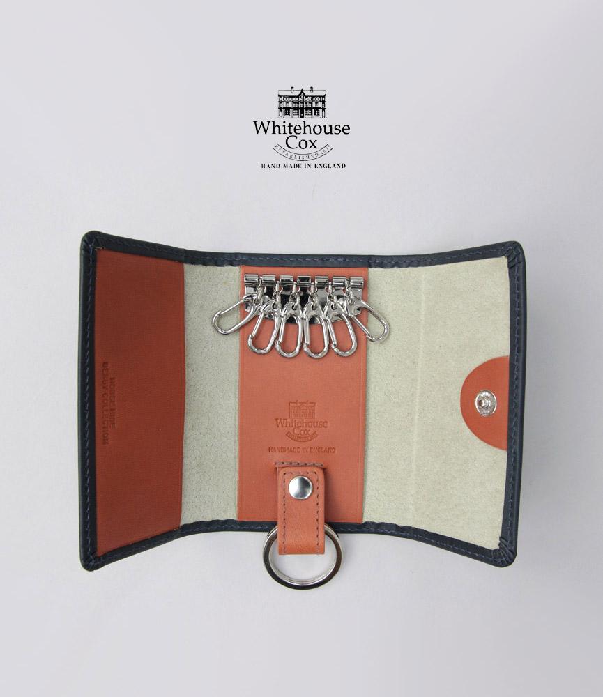 馬革を使用したダービーコレクション ギフトラッピング レザーバーム プレゼント ホワイトハウスコックス 今だけ限定15%OFFクーポン発行中 キーケース ネイビー タン WhitehouseCox KEYCASE DERBY WITH ダービーコレクション S9692 日本未発売 キーケースウィズリング RING