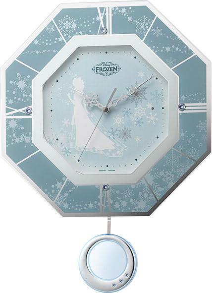 振り子時計 ディズニー DISNEY アナと雪の女王 8MX405MC04 リズム時計 RHYTHM