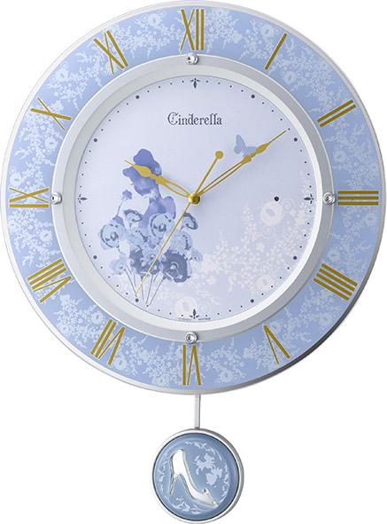 振り子時計 ディズニー DISNEY シンデレラ 8MX406MC04 リズム時計 RHYTHM