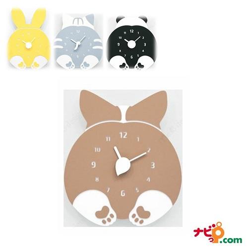 ハンドメイド mo:ro 壁掛け時計 動物のヒップが時計になった! デザイン壁掛け時計 CHUBBY HIP ウェルシュ コーギー