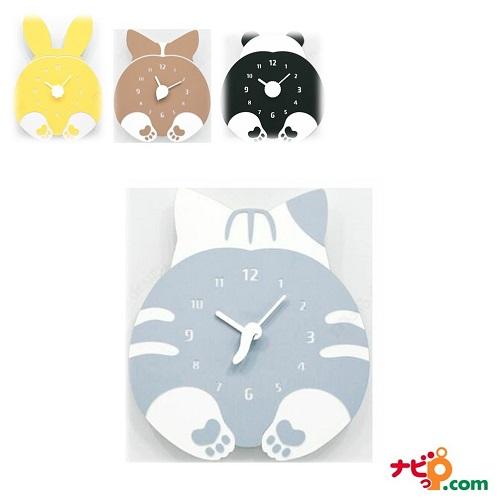 ハンドメイド mo:ro 壁掛け時計 動物のヒップが時計になった! デザイン壁掛け時計 CHUBBY HIP 猫 ネコ