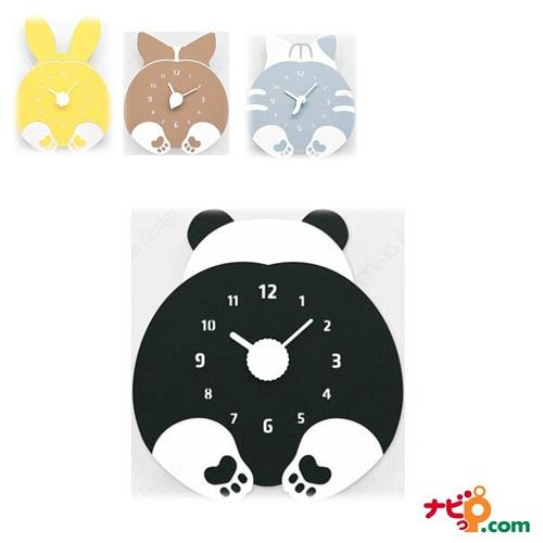 ハンドメイド mo:ro 壁掛け時計 動物のヒップが時計になった! デザイン壁掛け時計 CHUBBY HIP パンダ