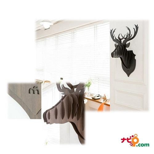 鹿の壁掛けインテリア! 木製組み立て式ハンティングトロフィー HUNTING TROPHY ブラウン