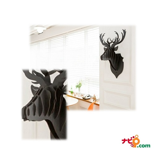 鹿の壁掛けインテリア! 木製組み立て式ハンティングトロフィー HUNTING TROPHY ブラック
