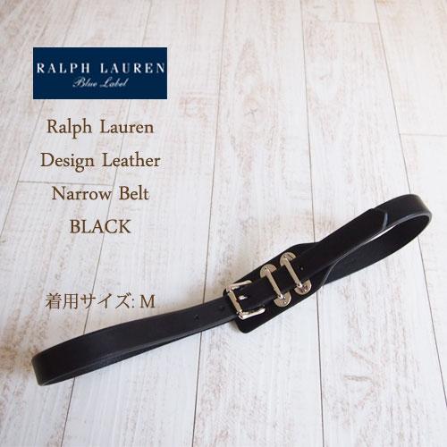 【SALE】【BLUE LABEL by Ralph Lauren】 ラルフローレン デザインレザー 細ベルト/BLACK【あす楽対応】