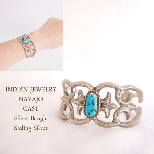 【INDIAN JEWELRY】NAVAJO インディアン ジュエリー ナバホ ターコイズ シルバー バングル