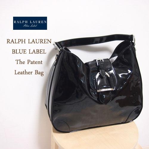 【SALE】【BLUE LABEL by Ralph Lauren】 ラルフローレン エナメル レザー ショルダー バッグ/BLACK【あす楽対応】