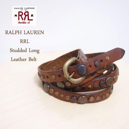 【SALE】【RRL by Ralph Lauren】 ラルフローレン DOUBLE RL ダブルアールエル スタッズ ロングラップベルト