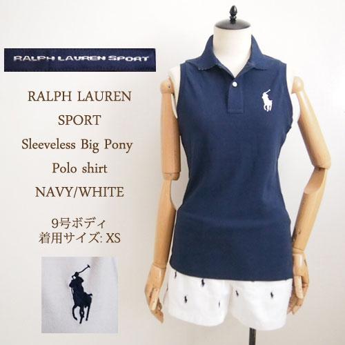 Ralph Lauren sport women's pony sleeveless Polo Shirt / Navy / white Ralph  Lauren Sport Polo Shirts