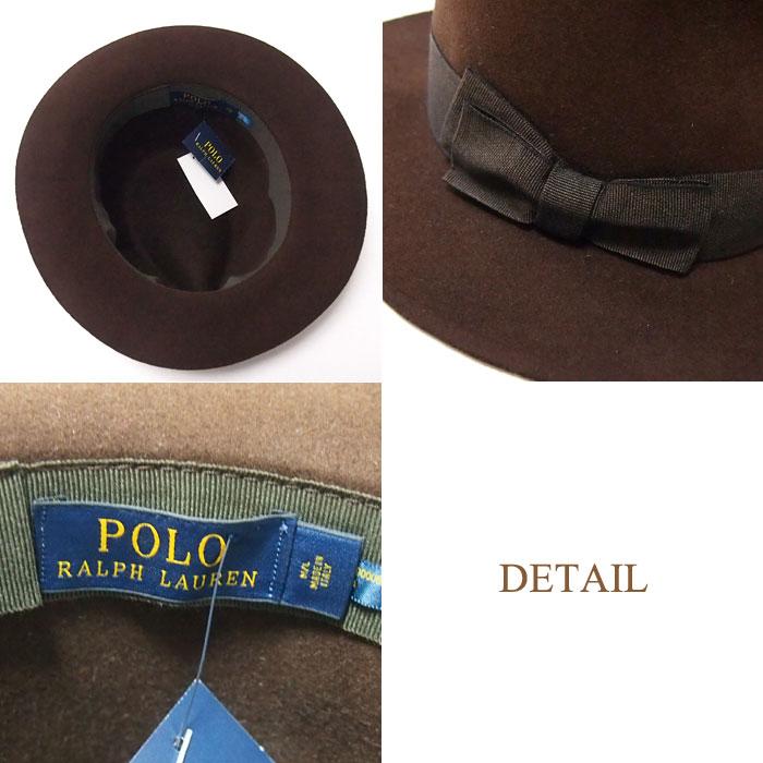 1c33e0ef425 ... Ralph Lauren Polo made in Italy caps felt Hat / Brown POLO by Ralph  Lauren Hat ...