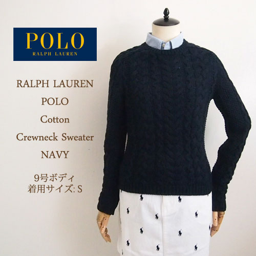 Navie Ralph Lauren Polo Womens Crew Neck Cable Knit Sweater And