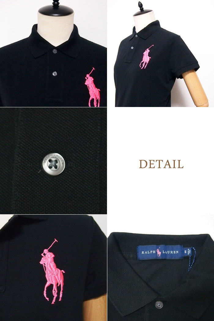 繡的馬球襯衫,大的小馬,婦女的粉紅色小馬馬球拉爾夫勞倫黑色 / 白色馬球由拉爾夫勞倫粉色小馬