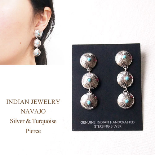 Sterling Silver Navajo Turquoise Concho 3 Earrings INDIAN JEWELRY NAVAJO Pierce