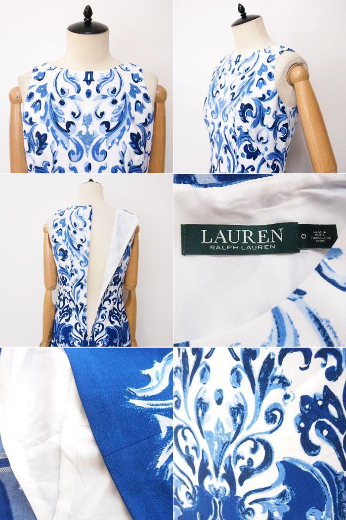 a94b52088e67c Ralph Lauren women s handwritten print floral sleeveless dress   blue LAUREN  by Ralph Lauren Dress
