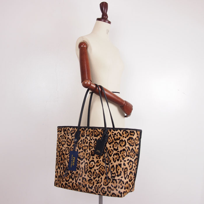Ralph Lauren polo Lady s leather animal pattern tote bag   black POLO by Ralph  Lauren Bag de9faa4d689a8