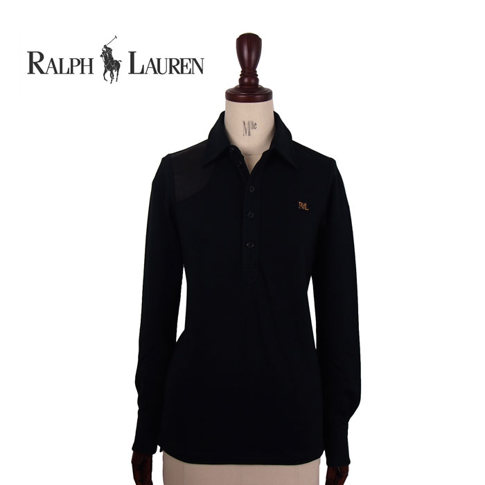 【SALE】【Ralph Lauren Sport】ラルフローレン スポーツ レザーパッチ モノグラムロゴ ポロシャツ/BLACK【あす楽対応】