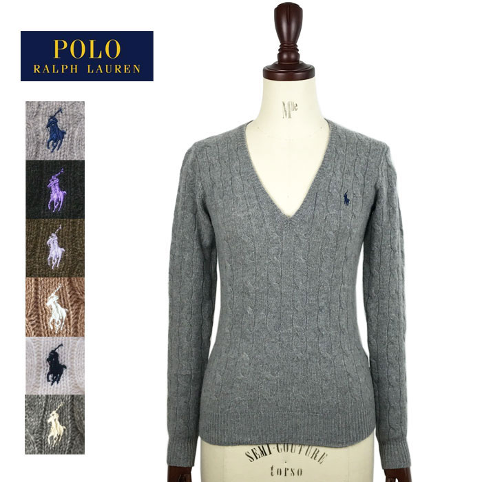Ralph Lauren Polo Womens Merino Wool cashmere V neck cable knit sweater POLO  by Ralph Lauren Knit Top