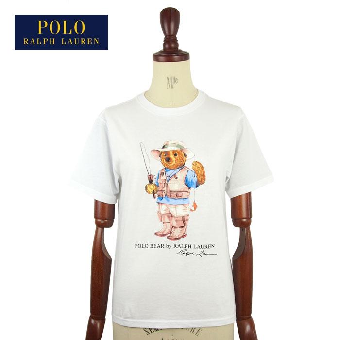 fb4e13f2d5 NAVIE  ラルフローレンポロボーイズポロベアーフィッシング fishing crew neck T-shirt   white POLO  Ralph Lauren T-shirts