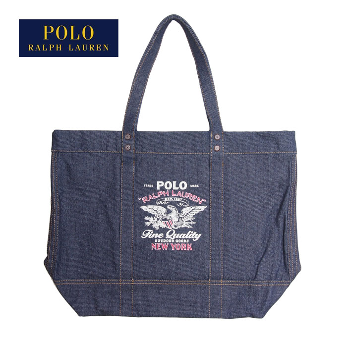 Ralph Lauren polo logo print denim tote bag / indigo POLO Ralph Lauren  Denim Tote Bag