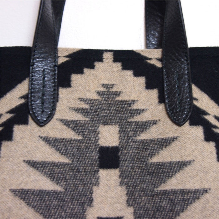 58cc3a0eae91 Ralph Lauren native pattern wool leather tote bag   black Ralph Lauren Bag