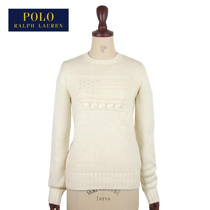 ラルフローレン ポロ レディース 星条旗 フラッグ クルーネック ニット セーター/ホワイトPOLO Ralph Lauren Flag Cotton Crewneck Sweater
